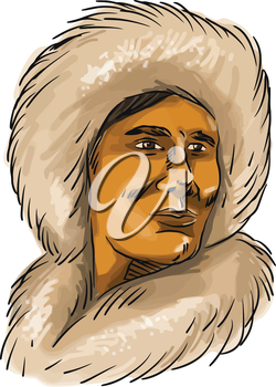Watercolor style illustration of a male Eskimo Inuit bust wearing a hooded simple fur parka set on isolated white background.
