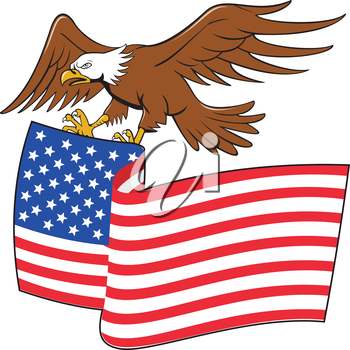 Illustration of an american bald eagle carrying usa stars and stripes flag viewed from the side set on isolated white background done in cartoon style.