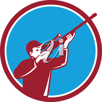 Illustration of a hunter wearing hat aiming shooting up shotgun rifle viewed from the side set inside circle on isolated background done in retro style.