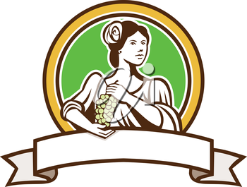 Illustration of a vintage lady holding a bunch of grapes looking to side set inside circle with ribbon banner in foreground done in retro style.