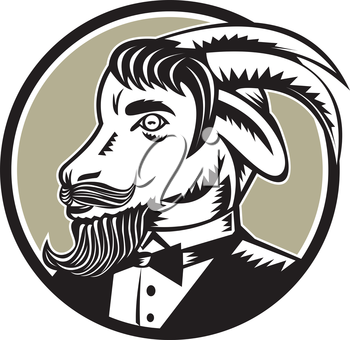 Illustration of a goat ram with big horns and moustache beard wearing tuxedo suit looking to the side set inside circle done in retro woodcut style.
