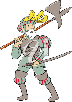 Illustration of a spanish conquistador standing walking holding ax lance on shoulder and sword in the other hand looking to the side viewed from front set on isolated white background done in cartoon