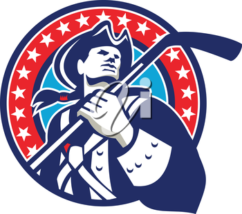 Illustration of an american patriot holding ice hockey stick looking to the side viewed from front set inside circle with stars in the background done in retro style.