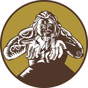 Illustration of Samoan legend god Tagaloa facing front with arms out set inside circle done in retro woodcut style.