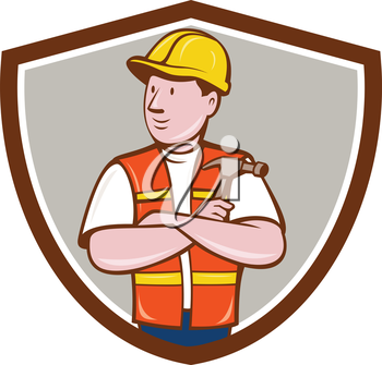 Illustration of a builder carpenter construction worker arms folded holding hammer looking to the side set inside shield crest on isolated background done in cartoon style.
