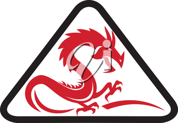 Illustration of a silhouette of a red dragon viewed from the side set inside triangle shape on isolated background done in retro style.