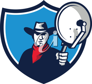 Illustration of a cowboy holding aiming satellite dish viewed from front set inside shield crest on isolated background done in retro style.