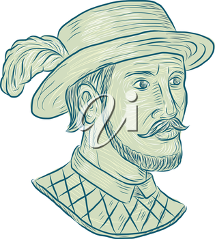 Drawing sketch style illustration of Juan Ponce de Leon, a Spanish explorer and conquistador who led the first European expedition to Florida while searching for the Fountain of Youth set on isolated