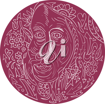 Mandala style illustration of a face of an old woman viewed from front set inside circle.