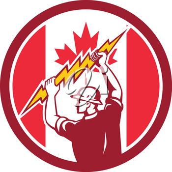 Icon retro style illustration of a Canadian electrician or power lineman holding lightning bolt with Canada maple leaf flag set inside circle on isolated background.