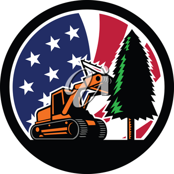 Retro style illustration of a tracked mulching tractor or forestry mulcher tearing down tree with American stars and stripes USA flag inside circle l on isolated background.