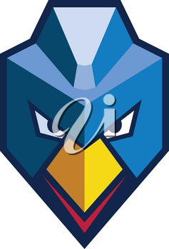 Icon style illustration of an Angry Cyberpunk Chicken hen mascot with mohawk viewed from front in isolated background.