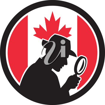 Icon retro style illustration of a silhouette of Canadian private investigator with magnifying glass with Canada maple leaf flag set inside circle on isolated background.