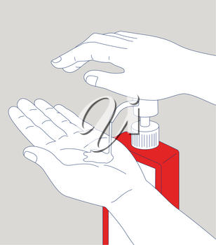 Mono line illustration of a hand pumping hand sanitizer antiseptic disinfectant soap dispenser cleaning and disinfecting.