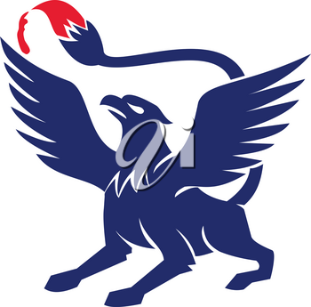 Icon style illustration of Griffin ,griffon, or gryphon with Paintbrush tail viewed from side on isolated background.