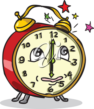 Cartoon style illustration of a traditional vintage mechanical spring-driven alarm clock setting off ringing alarm and waking up on isolated white background.