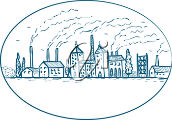 Drawing sketch style illustration of an industrial revolution landscape of the 1800s with factory, building, smokestack, chimney, smoke and air pollution set inside oval on isolated white background.