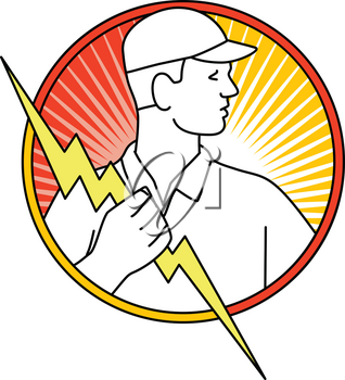 Mono line illustration of an electrician or power lineman holding a lightning bolt or thunder bolt viewed from side side inside circle done in monoline style.