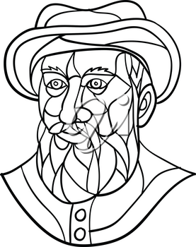 Mosaic low polygon style illustration of an old Spanish or Portuguese explorer or naval officer, Ferdinand Magellan wearing a hat and beard on isolated white background in black and white.