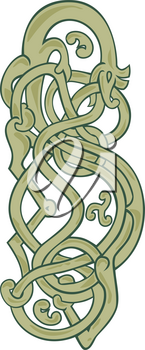 Mono line illustration of an urnes snake with extended stomach on isolated background.