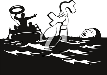 Retro style illustration of a businessman or drowning in debt holding on to dollar money sign while being rescued and given a lifesaver by a rescue party on life raft on isolated white background.