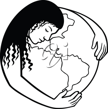Retro black and white style illustration of Mother Earth or Gaia, a goddess who inhabits the planet, offering life and nourishment, hugging the world or globe on isolated background.