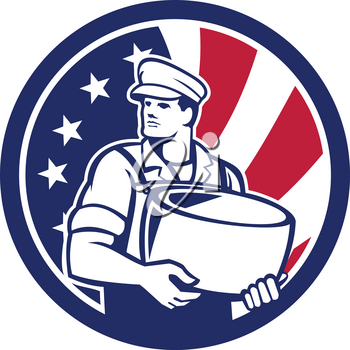 Icon retro style illustration of an American artisan cheesemaker or cheese maker holding Parmesan cheese with United States of America USA star spangled banner or stars and stripes flag in circle.