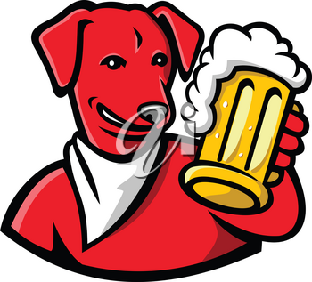 Sports mascot icon illustration of head of a red English Lab or Labrador dog holding a beer mug toasting  viewed from front on isolated background in retro style.