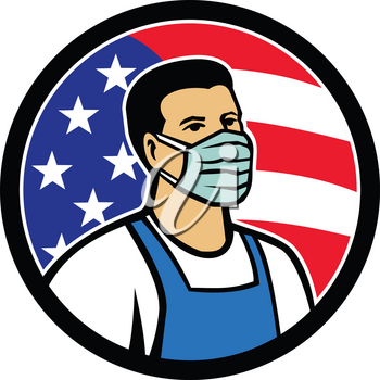Mascot icon illustration of American grocery, food, supermarket, front line essential worker wearing mask and apron with USA stars and stripes flag as hero set inside circle in retro style.