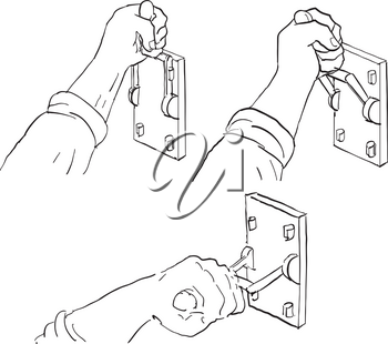 Drawing sketch style illustration of progression sequence of hand pulling down a vintage Frankenstein light or throw switch