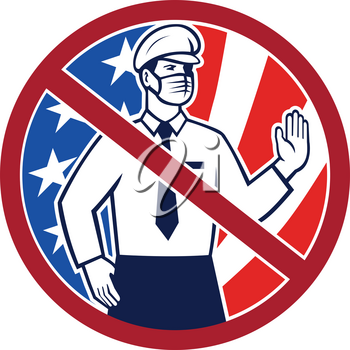 Icon retro style illustration of no entry in America without immunization concept showing an American immigration officer wearing mask putting hand out to stop set in circle with USA flag on white.