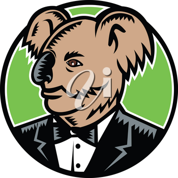 Retro woodcut style illustration of a koala bear, an arboreal herbivorous marsupial native to Australia, wearing a tuxedo black tie looking to side set inside circle done in full color.