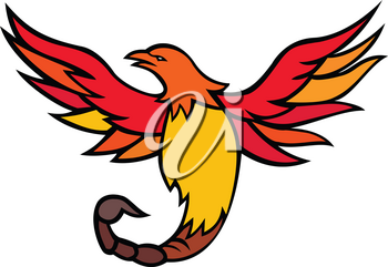Mascot icon illustration of a phoenix with a scorpion tail and venomous stinger flying and rising up viewed from front  on isolated background in retro style.