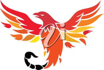 Icon retro style illustration of a mythical phoenix or firebird of Greek mythology with a tail of a scorpion or venomous stinger flying up on isolated background.