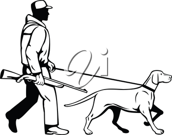 Retro style illustration of a bird hunter or duck shooter with shotgun rifle and Hungarian or Magyar Vizsla pointer dog walking viewed from side on isolated background done in black and white.