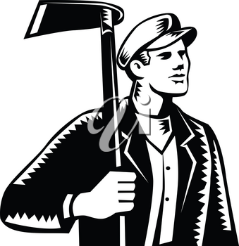 Illustration of male farmer, gardener, landscaper or horticulturist holding grub hoe looking to the side set on isolated background done in retro woodcut black and white style.