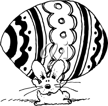 Royalty Free Clipart Image of an Easter Bunny With a Big Egg