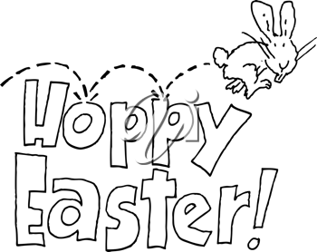 Royalty Free Clipart Image of a Hopping Bunny