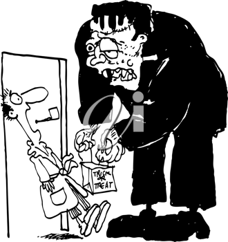 Royalty Free Clipart Image of a Trick or Treating Frankenstein