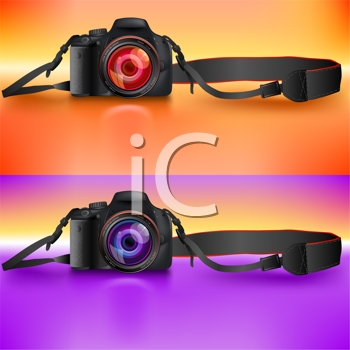 Royalty Free Clipart Image of Two Cameras