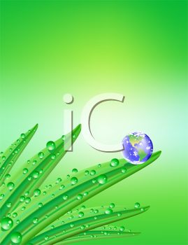 Royalty Free Clipart Image of a Green Background With Damp Leaves and a Globe