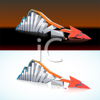 Royalty Free Clipart Image of a Falling Bars and an Arrow