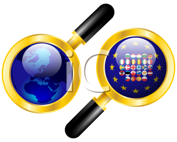 Royalty Free Clipart Image of a World Globe and EU Flags Under a Magnifier