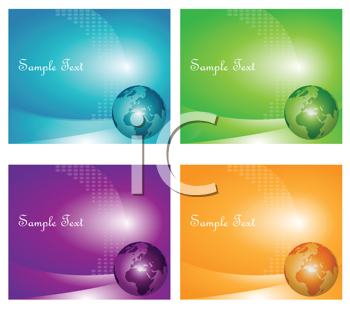 Royalty Free Clipart Image of a Set of Backgrounds With a Globe in the Corner and Space for Text
