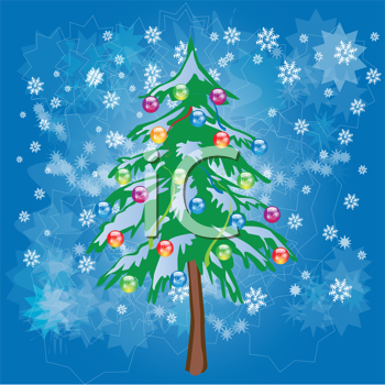 Royalty Free Clipart Image of a Christmas Tree in Snow