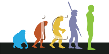 Royalty Free Clipart Image of Men Representing Evolution