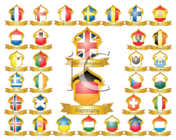 Royalty Free Clipart Image of a Flag Collection