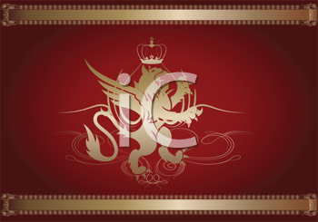Royalty Free Clipart Image of a Griffon Coat of Arms in Red and Gold