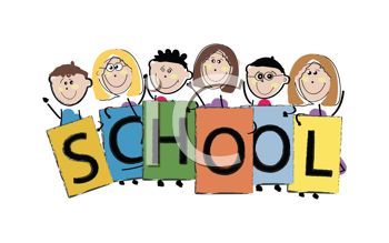Royalty Free Clipart Image of Children Holding a School Sign