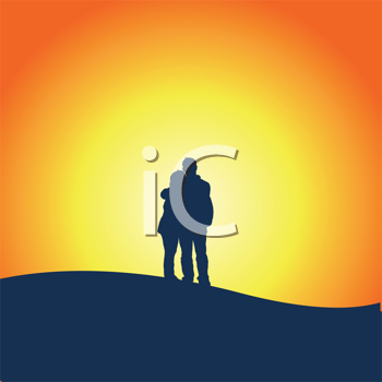 Royalty Free Clipart Image of a Couple Watching a Sunset
